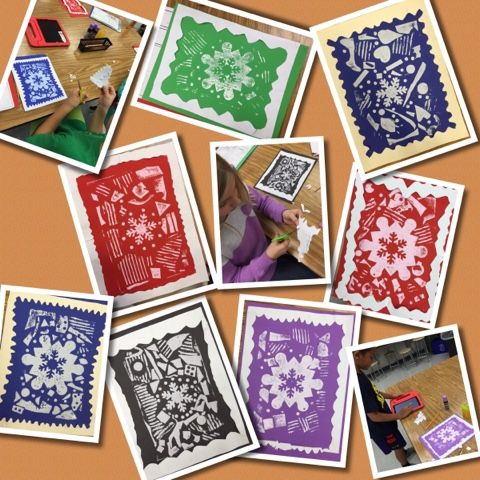 Mrs. Knight's Smartest Artists: Winter collagraph prints, 3rd grade