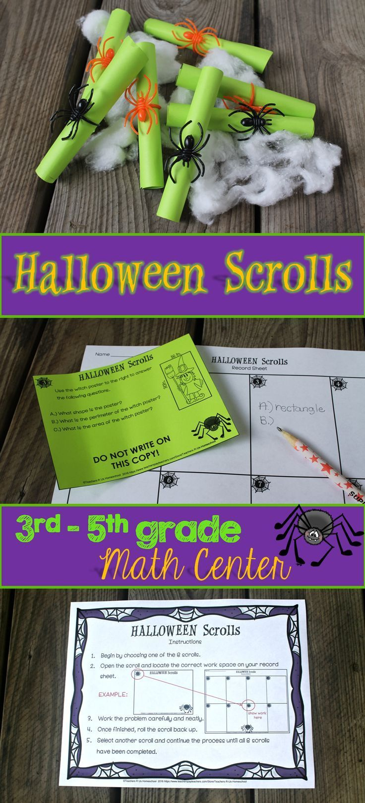 This Halloween themed math center is super fun and creative! Students will love solving these 8 word problems with multiple questions per problem. Check out the preview for a more detailed view!  Skills include: addition, subtraction, critical reasoning, time, geometry, area, perimeter, fractions, analyzing tables, measurement and more.