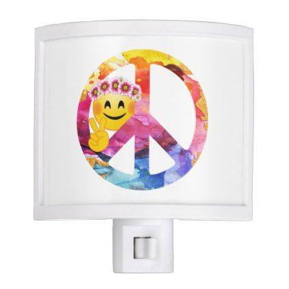 #Peace Sign Hippie Emoticon Watercolor Art Night Light - #emoji #emojis #smiley #smilies