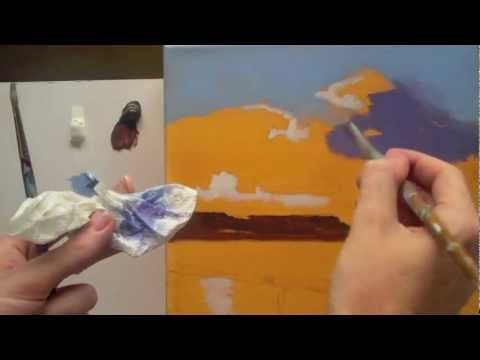 Acrylic landscape painting techniques. Lessons for beginners Part 2 - YouTube