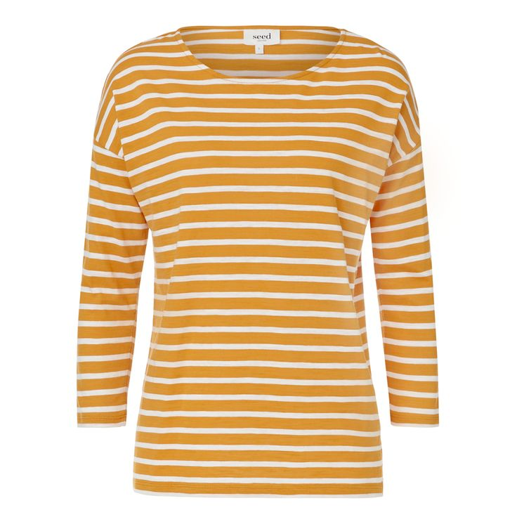 Cotton Easy Stripe Tee. Comfortable yet neat silhouette features a scoop neckline, drop shoulders, 3/4 length sleeves and a comfortable body with small side splits. Available in Stripe as shown.