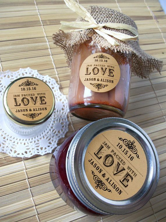 Kraft paper Jam Packed with Love Wedding Bridal Shower Canning jar labels, custom personalized cottage chic round stickers for jam jar favor, CanningCrafts, Etsy $6