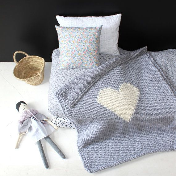 Heart Baby Blanket Grey Crib Size Baby Blanket Knit by YarningMade