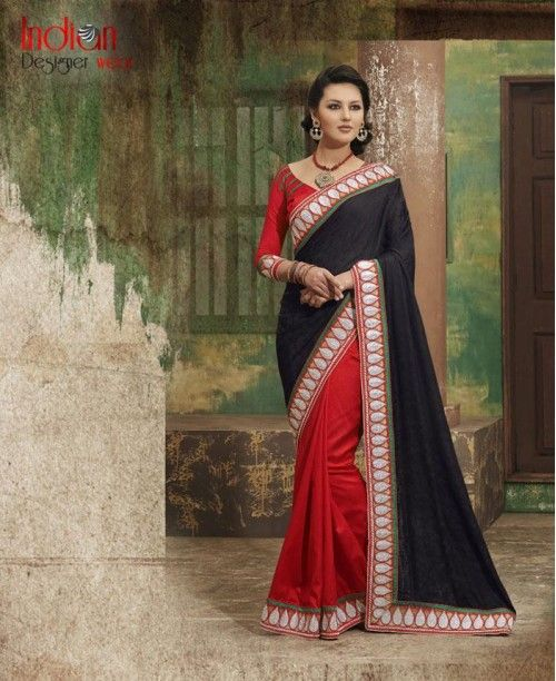 Drop-Dead Grogeous Black & Red Saree