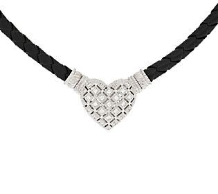Judith Ripka Sterling & Diamonique Necklace with Magnetic Heart