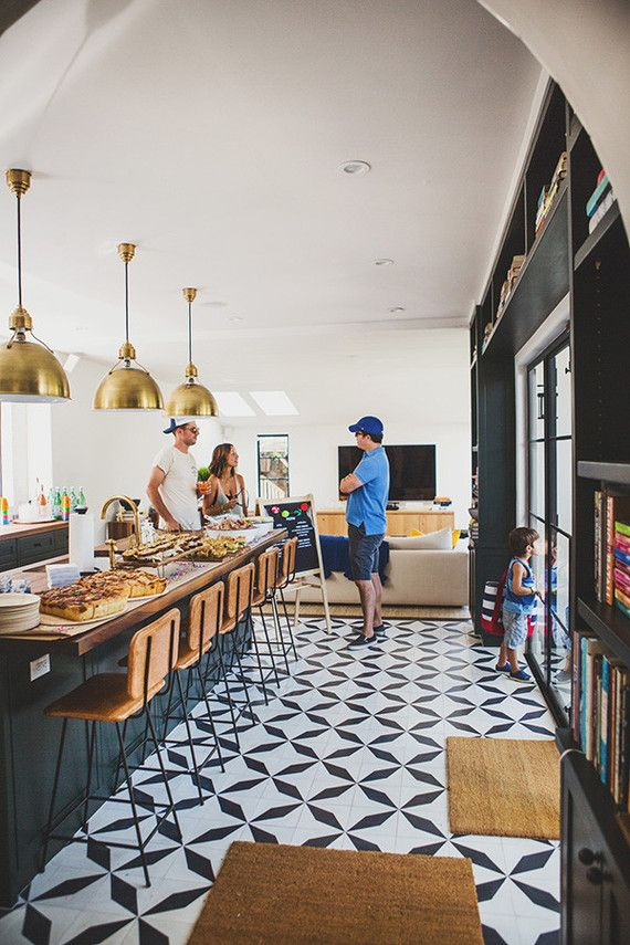 (my Note: Love The Black/white Tile) Black And White Kitchen Tiles With  Oversized Brass Pendants Above The Island. Love The Leather Barstools And  Built In ...