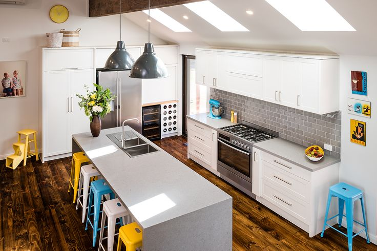 features/finishes and then throw in some colourful accents.  We just love this beautiful, bright and cheery kitchen featuring ALBEDOR doors in SHEREE design and SATIN ROYAL OYSTER finish. For free expert advice PHONE 03 9761 6330 Visit our SHOWROOM at 7 Research Drive,  CROYDON SOUTH VIC 3136 Or browse our WEBSITE at www.albedor.com.au.