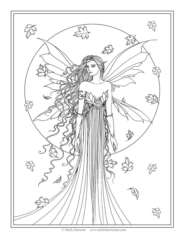 free coloring page fall fairy by molly harrison fantasy art - Fantasy Coloring Pages Adults