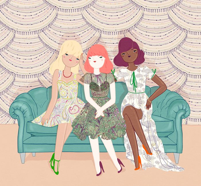 illustration by Kris Atomic, inspired by and incorporating Liberty's Spring/Summer 2011 fabric designs