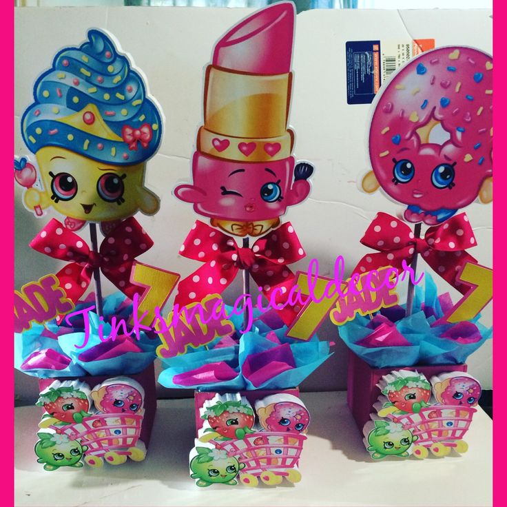 6 Shopkins birthday centerpieces by TinksMagicalDeco on Etsy https://www.etsy.com/listing/269957584/6-shopkins-birthday-centerpieces