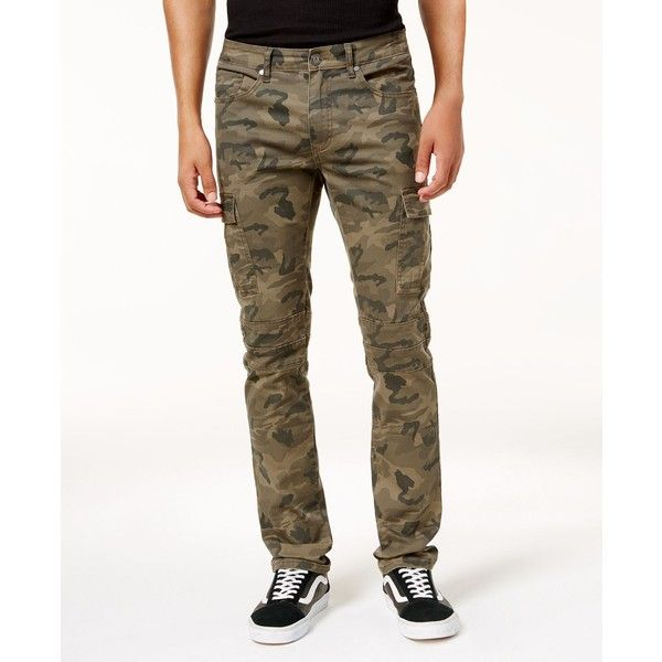 Reason Men's Camo Cargo Pants ($60) ❤ liked on Polyvore featuring men's fashion, men's clothing, men's pants, men's casual pants, med green, mens pants, mens green pants, mens camouflage cargo pants, mens green cargo pants and mens cargo pants