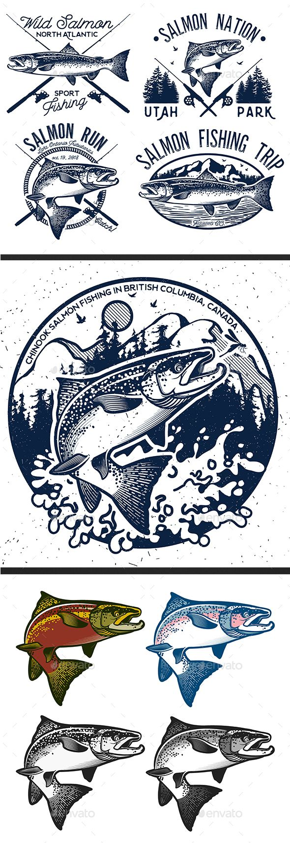 Vintage Salmon Fishing Emblem. Set 2 - Animals Characters