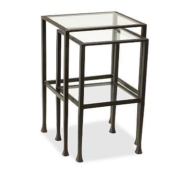 Tanner Metal U0026 Glass Nesting Tables, Set Of 2, Matte Iron Bronze Finish