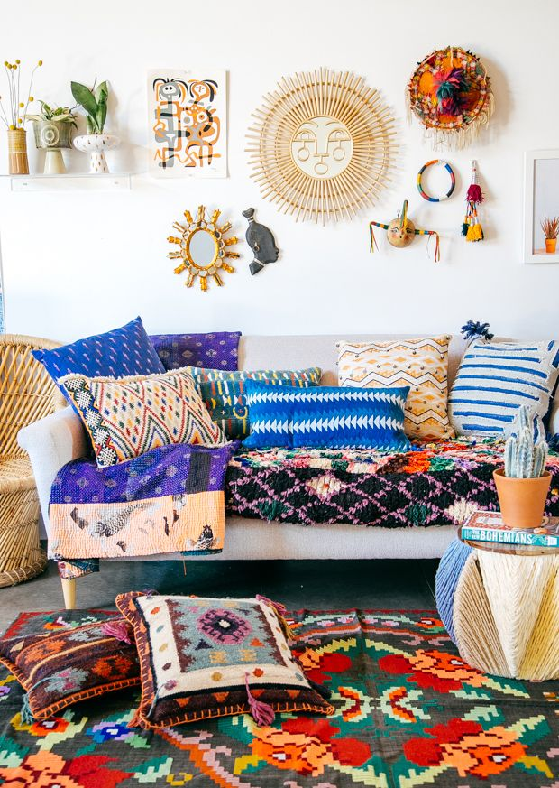 """I just created this """"Well-traveled-home"""" vignette in our studio because we recently received some samples in studio from our Selamat collection. (The fabric wrapped ottoman, the copper pyramid planter and the sun mirror with the face on it are all pieces from the collection that we're showing at Vegas Market this weekend and …"""