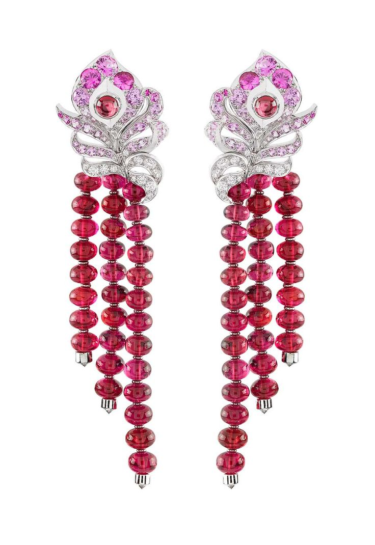 Van Cleef & Arpels 'birds Of Paradise' Arpels Oiseaux Flamboyant Earrings  With Red Spinels