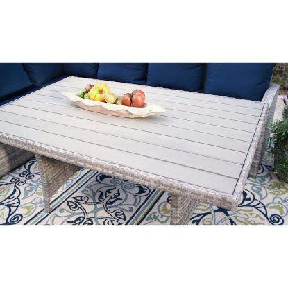Belham Living Brookville 6 Piece All Weather Wicker Sofa Sectional Patio Dining Set | Hayneedle