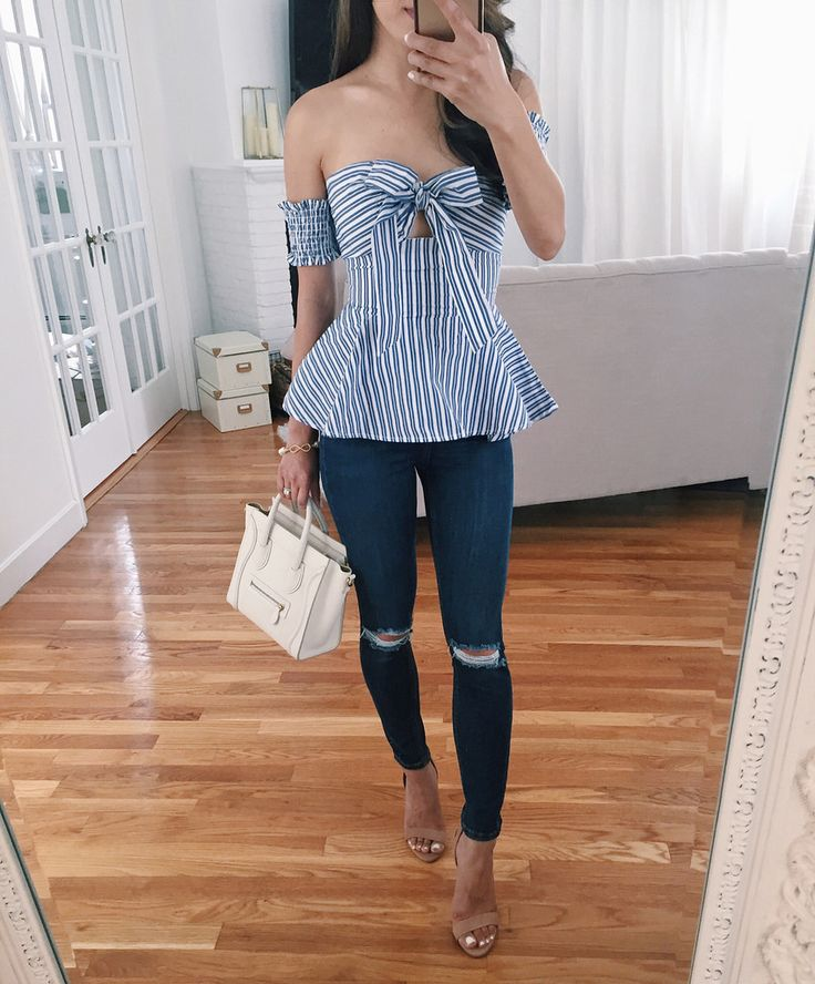 striped bow peplum shirt + ripped jeans petite // going out outfit