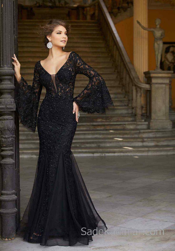 2018 Abendkleider Black Long Fish V-Ausschnitt Lace Spanish Sleeve   – Abiye Elbise Modelleri – Abiyeler