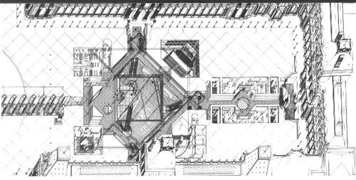 sketch of Louvre by I M Pei
