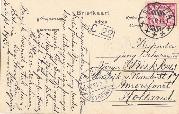 https://flic.kr/p/bTDGHP | Tempo Doeloe #78B | Back side of #78. I decided to post this since I received some requests of people who wanted to see the back of one of these old postcards. This one was sent by a Chinese person, probably living the the Chinese quarter in Jakarta, Glodok. It's written in the old Indonesian language and he sends his thanks and greetings to a lady in Amersfoort, Holland. Judging by the stamps it took the card a month to travel from Indonesia to Holland.
