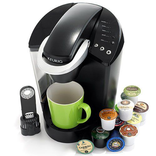This Keurig K45 black coffee brewer allows you to get a great fresh brewed taste, cup after cup. With the convenience of K-Cups, you can start your morning feeling refreshed with an easy to brew coffee maker. Select your customized coffee with a few quick button selections so you get the taste you want. This 1500W machine is great for people who have busy mornings. The machine includes a 12 count variety pack and a water filter starter kit with one replacement filter.