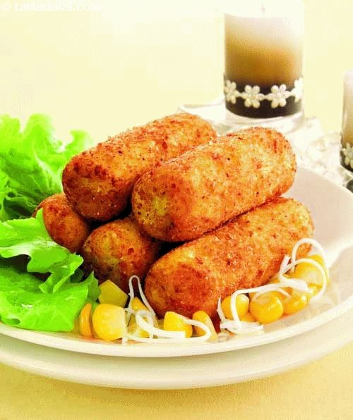 Aloo Cheese Croquettes ( Kebabs and Tikkis Recipes) recipe | by Tarla Dalal | Tarladalal.com | #32755