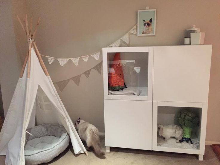 Bunny hutch ikea hack kralicek pinterest bunny for Design indoor rabbit cages