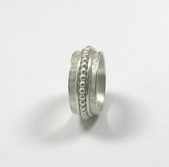 Spinner Ring Sterling Silver  Silver Dotted Ring   by DesignMali, €59.50