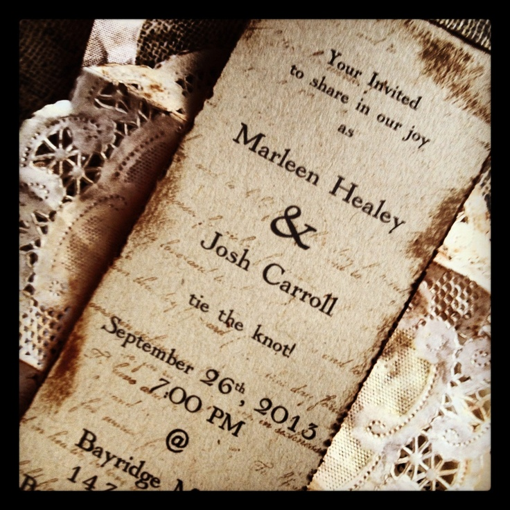 Vintage Wedding Invitation Boxed Invite Doily vintage