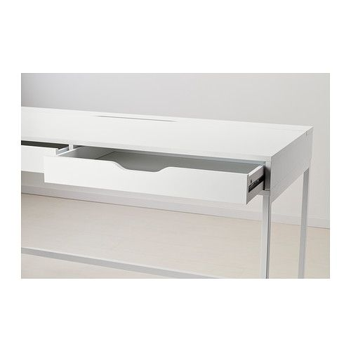 ALEX Desk IKEA Built-in cable management for collecting cables and cords out of sight but close at hand.