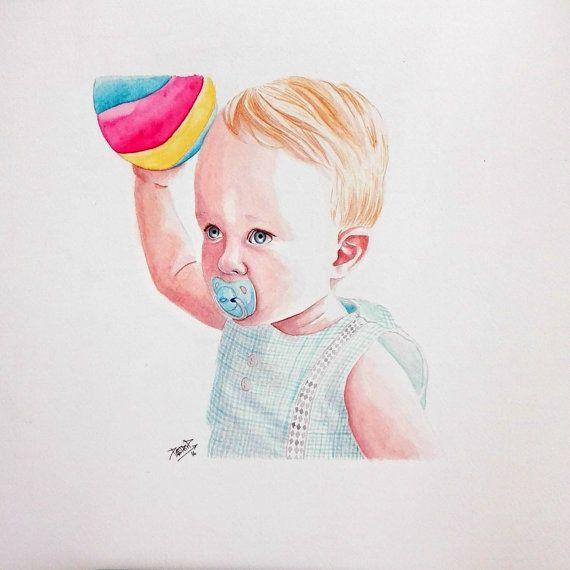 retrato acuarela niño con pelota