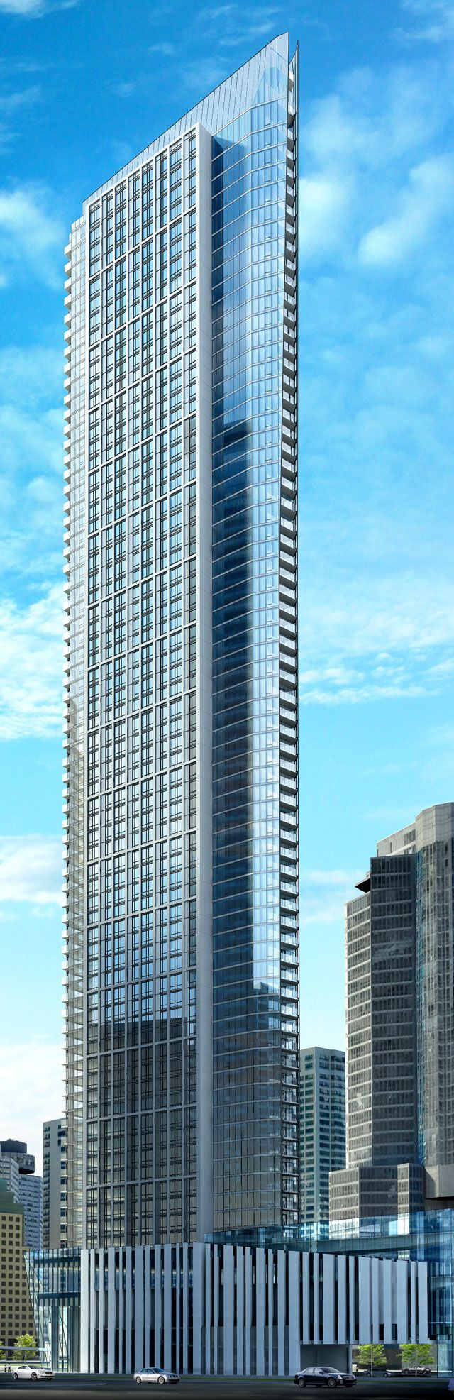 Ten York computer rendering looking southeast at the building's north and west elevation