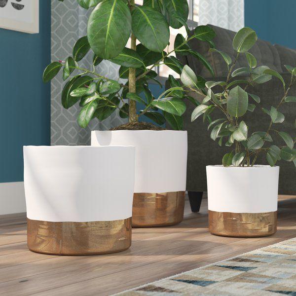 Hanover Round 3 Piece Ceramic Pot Planter Set Painted Pots Diy Planter Pots Plant Pot Design
