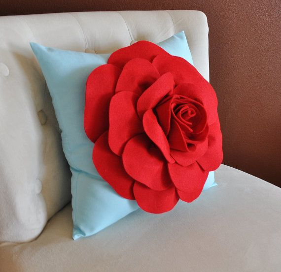 Red Rose on Light Aqua Pillow Baby Nursery Decor