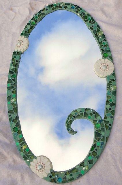 Mosaic mirror by Waschbear - Frances Green, via Flickr