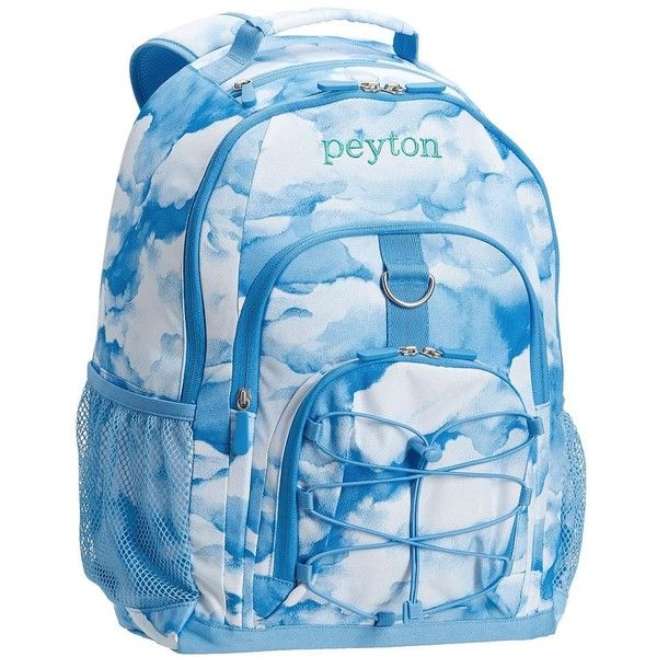 PB Teen Gear-Up Blue Clouds Backpack ($35) ❤ liked on Polyvore featuring bags, backpacks, polka dot backpack, blue polka dot backpack, padded laptop backpack, padded backpack and water bottle backpack