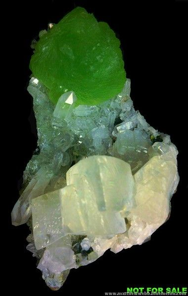 "exclusiveminerals > Prehnite with calcite, Namibia; c. 3"" tall"