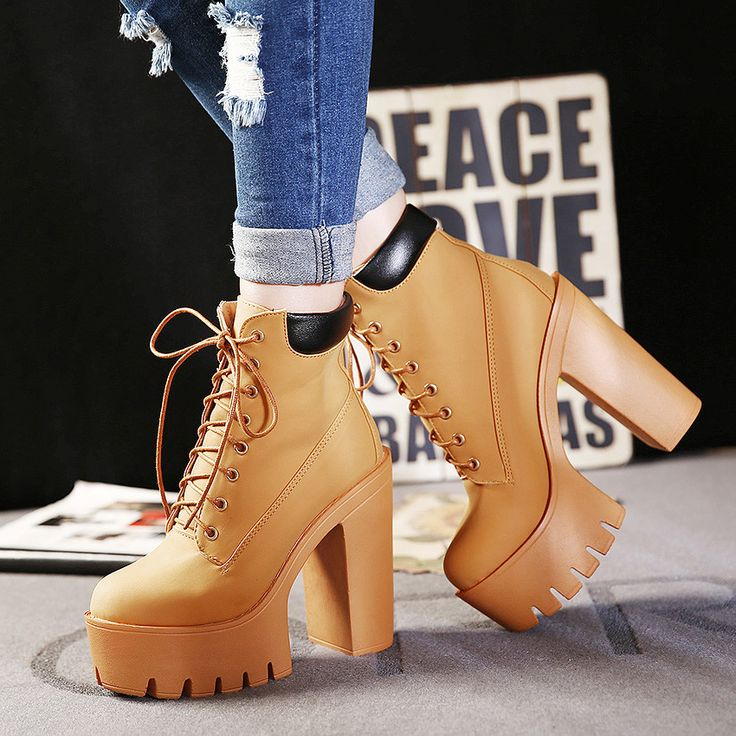 women boots waterproof ultra round head Fashion Autumn Platform Ankle Lace Up Thick Heel Martin Ladies Worker Boots Black