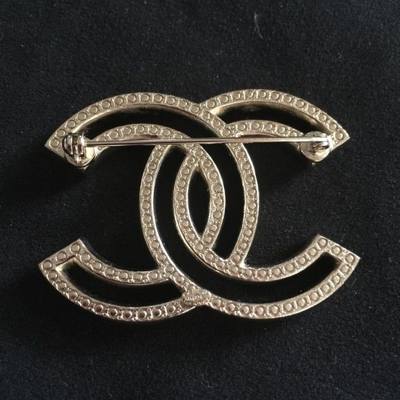off cc up gold vintage at to charm logo s brooch pins tradesy crystal chanel channel and brooches