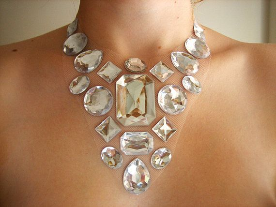 Dramatic and Elegant Bridal Metallic Clear Rhinestone Statement Necklace, Floating Ice Bling $25
