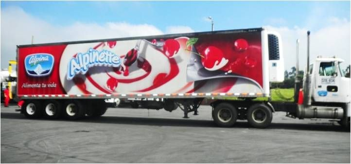 This 3D Vehicle graphic was designed and installed on the delivery trucks of Alpinette in Colombia to promote Alpina Dessert.