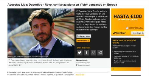 ¡Liga BBVA, esta noche a las 20:30 horas, Deportivo vs Rayo Vallecano!  ¡Regístrate en Betfair.es!  ¡Hasta 100€ en apuestas gratis!
