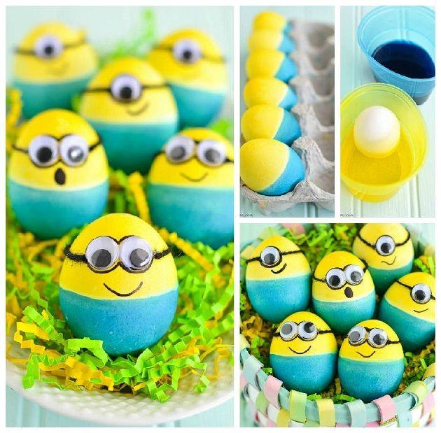 Dyed Minion Easter Eggs - DIY : alldaychic    #Easter #Minions #eggs