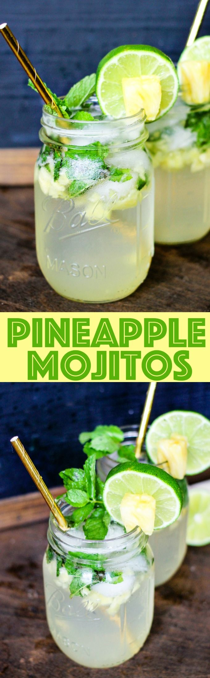 Pineapple Mojitos are full of fresh pineapple, mint, and lime! They are the bursting with flavor and make the best summer cocktail!