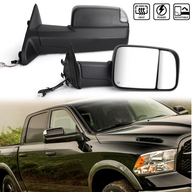 Power Heated Flip Up Towing Mirrors W Led Puddle For Dodge Ram 1500 2500 3500 Models Only 13 15 Black Towing Mirrors Ram 1500 Towing