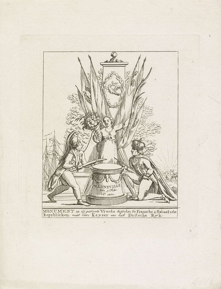 Anonymous | Allegorie op de vrede van Lunéville, 1801, Anonymous, 1801 | Monument voor de vrede van Lunéville gesloten op 9 februari 1801 tussen Frankrijk en Duitsland. Monument met de Vrede met hoorn van overvloed en palmtak bij een altaar. Een Franse dragonder en de Duitse keizer leggen hun wapens op het altaar.