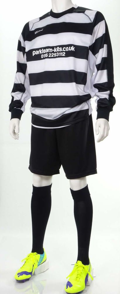 15 x Black & White Hooped Mens Football Team Kits (L/XL) Sponsorship Kit Deal