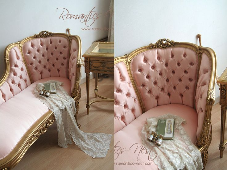 Pink and Gold Tufted      Chaise Lounge