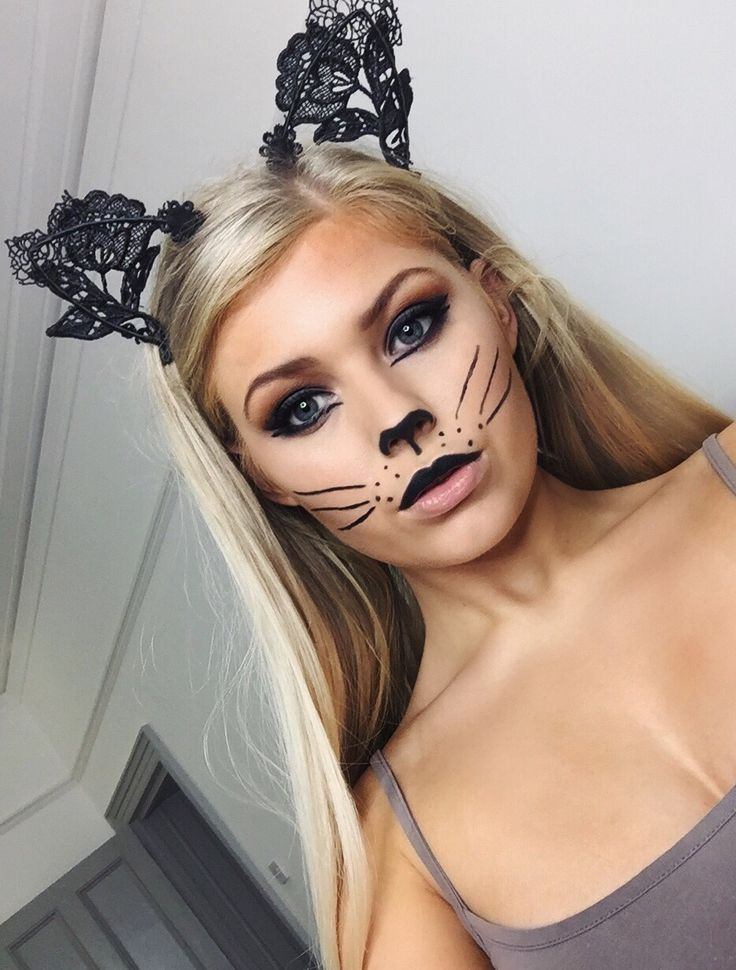 I did this last minute Halloween cat makeup tutorial, great for if you want something really quick and easy for Halloween, the ears were £2.50 from primark. Cute cat makeup, kitty makeup, Halloween cute makeup ideas!