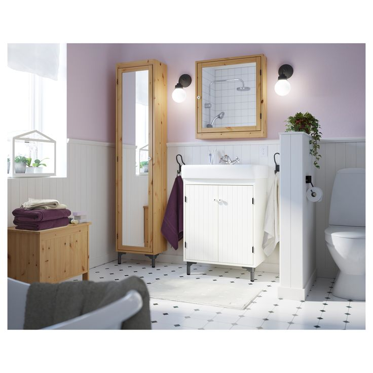 Photo Gallery For Photographers A rustic bathroom with SILVER N series in solid pine and FR JEN towels in lilac beige and white mirror cupboard wall between toilet and sink